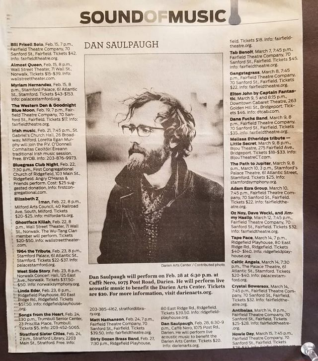 It's fun to be listed in the gigs section of a newspaper alongside @billfrisellsmusic, @realghostfacekillah, and @dirtydozenbrassband and have my face as the pic.  Thanks Milford Mirror & @darienartscenter!