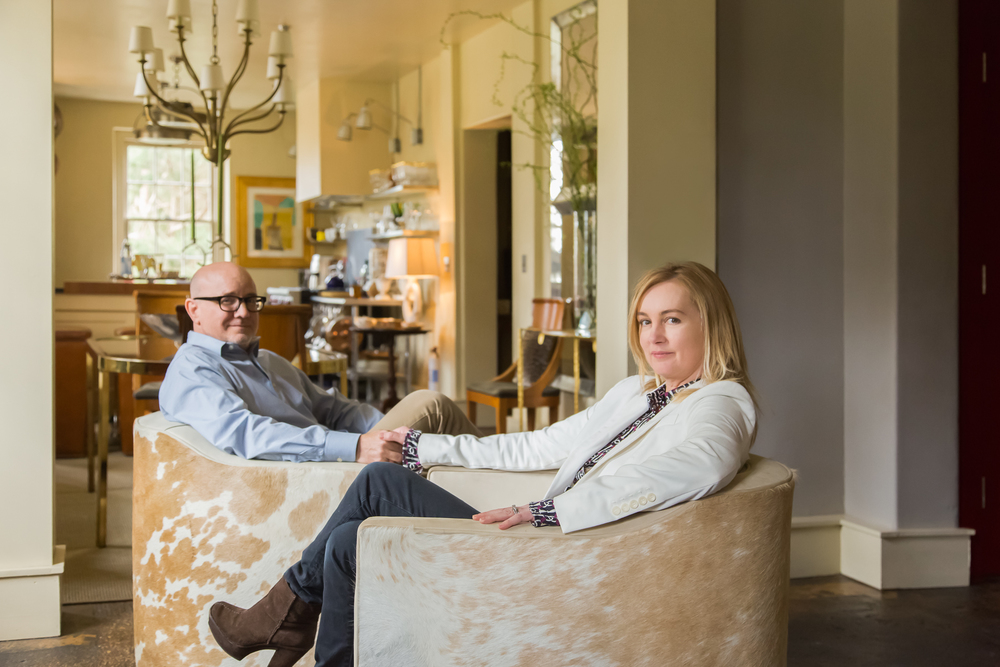 Beth and Chris Collier in their living room; Bestselling chairs from their collection