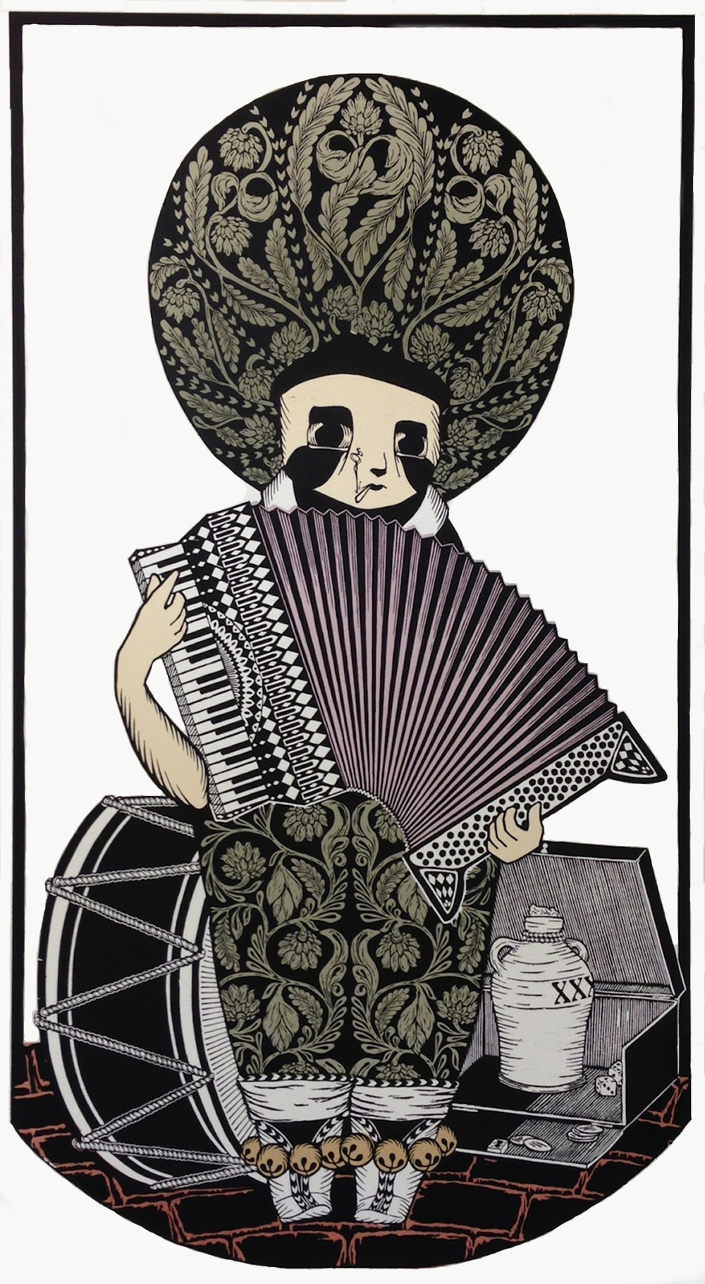 The Musician | woodcut with hand dyed chine collé | 36x66""