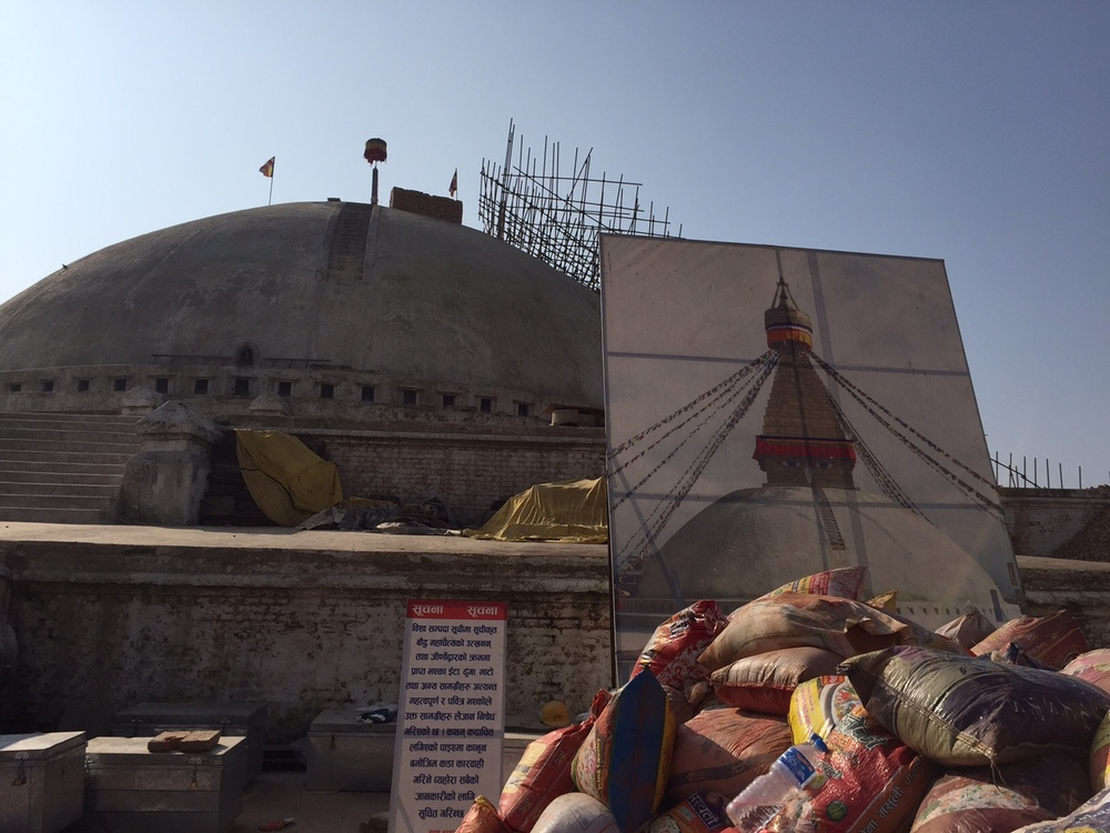 Boudha Stupa, a UNESCO heritage site, under reconstruction in December 2015.