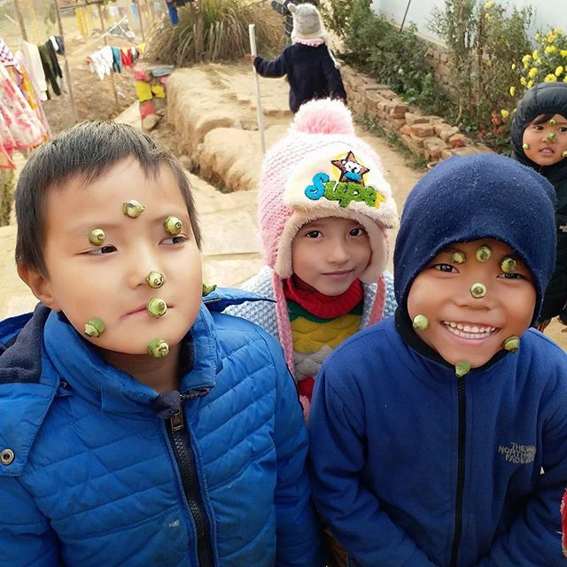 Kids will be kids. Sometimes, that means they'll stick okra vegetable heads all over their face and wake you up like this 😆 . . #lifeincyf #cyfsmiles #childhood #cyfnepal #kidswillbekids #okra