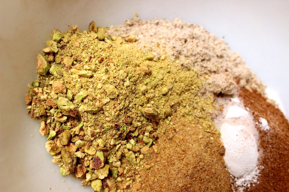 dry ingredients ft. fantastic pistachios (the crowning glory of this recipe, I must say)