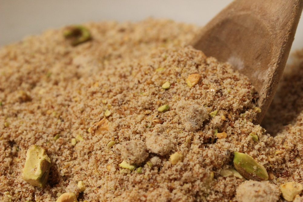dry ingredients...mmm those pistachios, tho.....