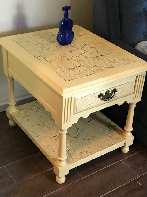 Crackled end table, great solution when the top is a little worn.