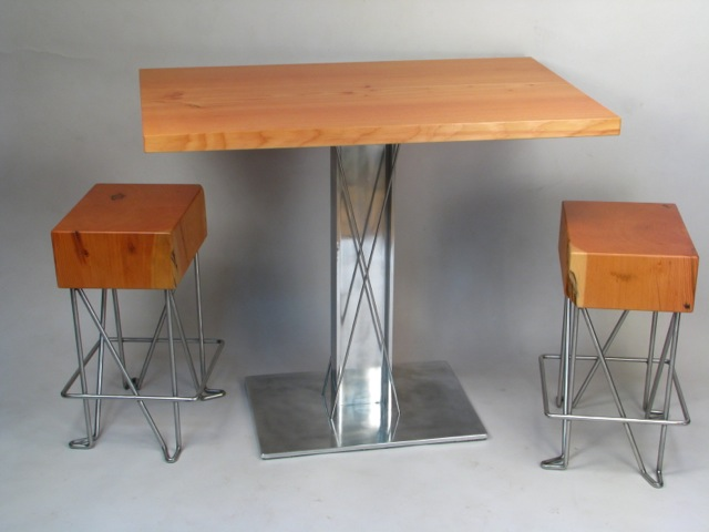 Beam End Table and Stools