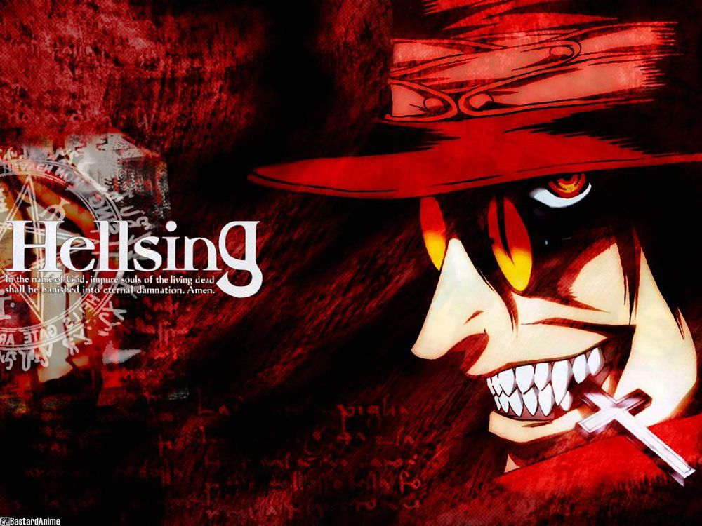 Hellsing- 2001   I can't remember how I learned about this anime but it has turned out to be one of my favorites in recent years. Hellsing centers on The Royal Order Of Protestant Knights and their most powerful weapon against evil, Alucard, the first and most powerful vampire. Things are set in motion when the frequency of ultra violent crimes happening all over the world appear to be connected, the connection turns out to be vampires. The Hellsing organization sets out to investigate and find themselves up against the remnants of a neo-Nazi super group called Millennium. Working in the shadows for years, they have been secretly experimenting, infecting and creating rabid hordes of ghouls and synthetic vampires in an attempt to wage war and regain the glory of their fallen empire- The Third Reich! Employing every available weapon and strategy they can, even the occult and dark arts. The only thing that standing in their way is Hellsing, Alucard, an old clean up man named Walter and a young recently turned vampire named Ceras.