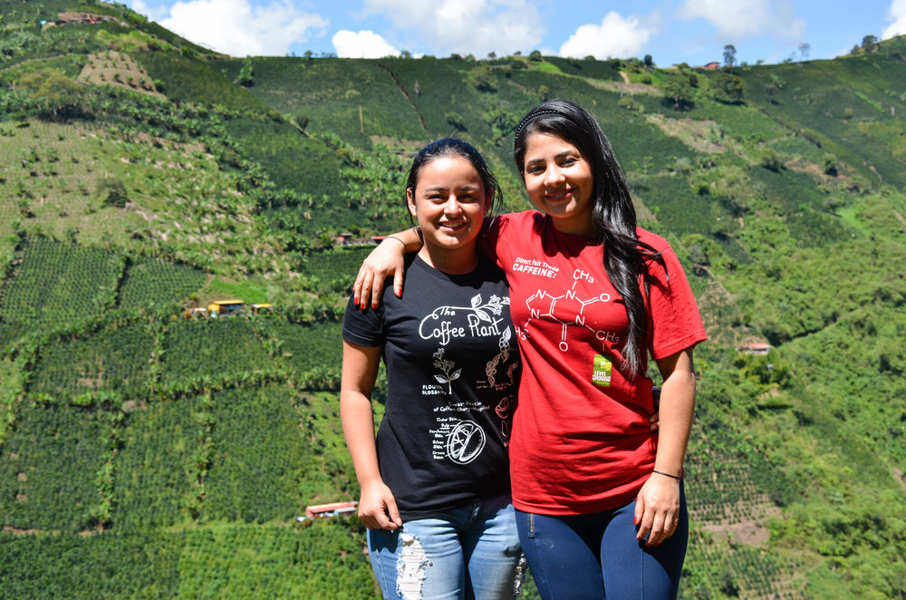 Famicafé students Sandra and Bibiana in the mountains of Colombia.