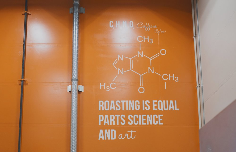A welcomed sign in our roasting room: caffeine!