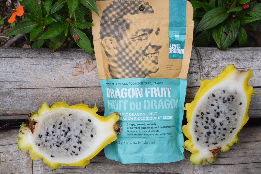 This variety of dragon fruit has a juicy white flesh.