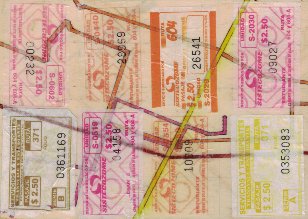 """Diario"" - pen and bus tickets on plywood"