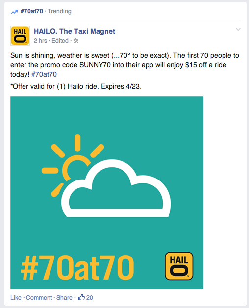 #70at70 trending on FB