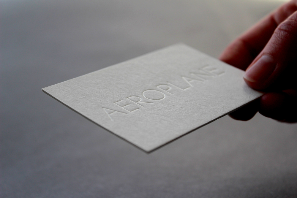 Business card design with clear foil deboss