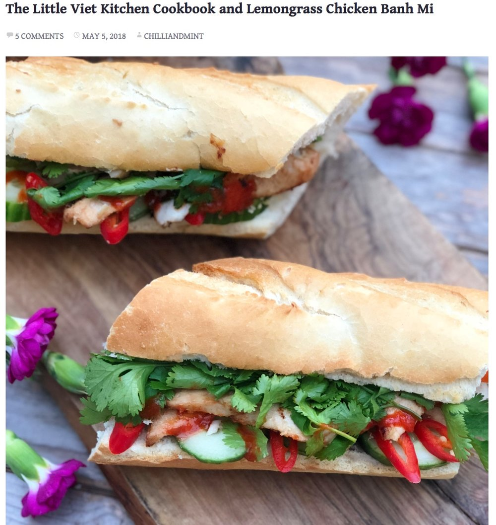 Review featuring our cookbook and banh mi recipe.   https://chilliandmint.com/2018/05/05/the-little-viet-kitchen-cookbook-and-lemongrass-chicken-banh-mi/