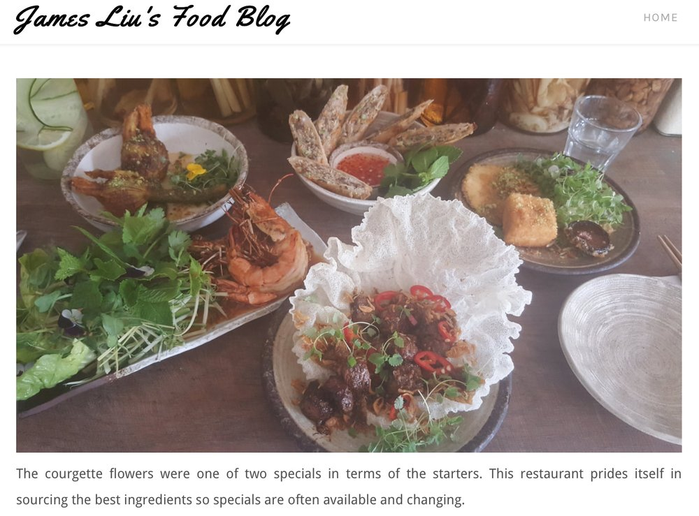 A wonderful review from one of biggest fans, James Liu.   https://liufood.weebly.com