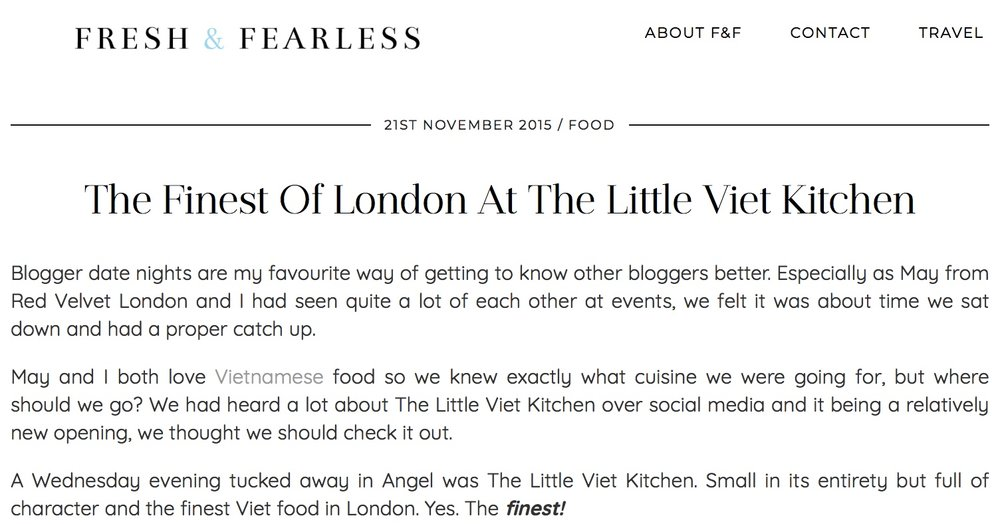 A wonderful and in depth review from Fresh & Fearless, thank you F&F!   http://www.freshandfearless.co.uk/london-little-viet-kitchen/