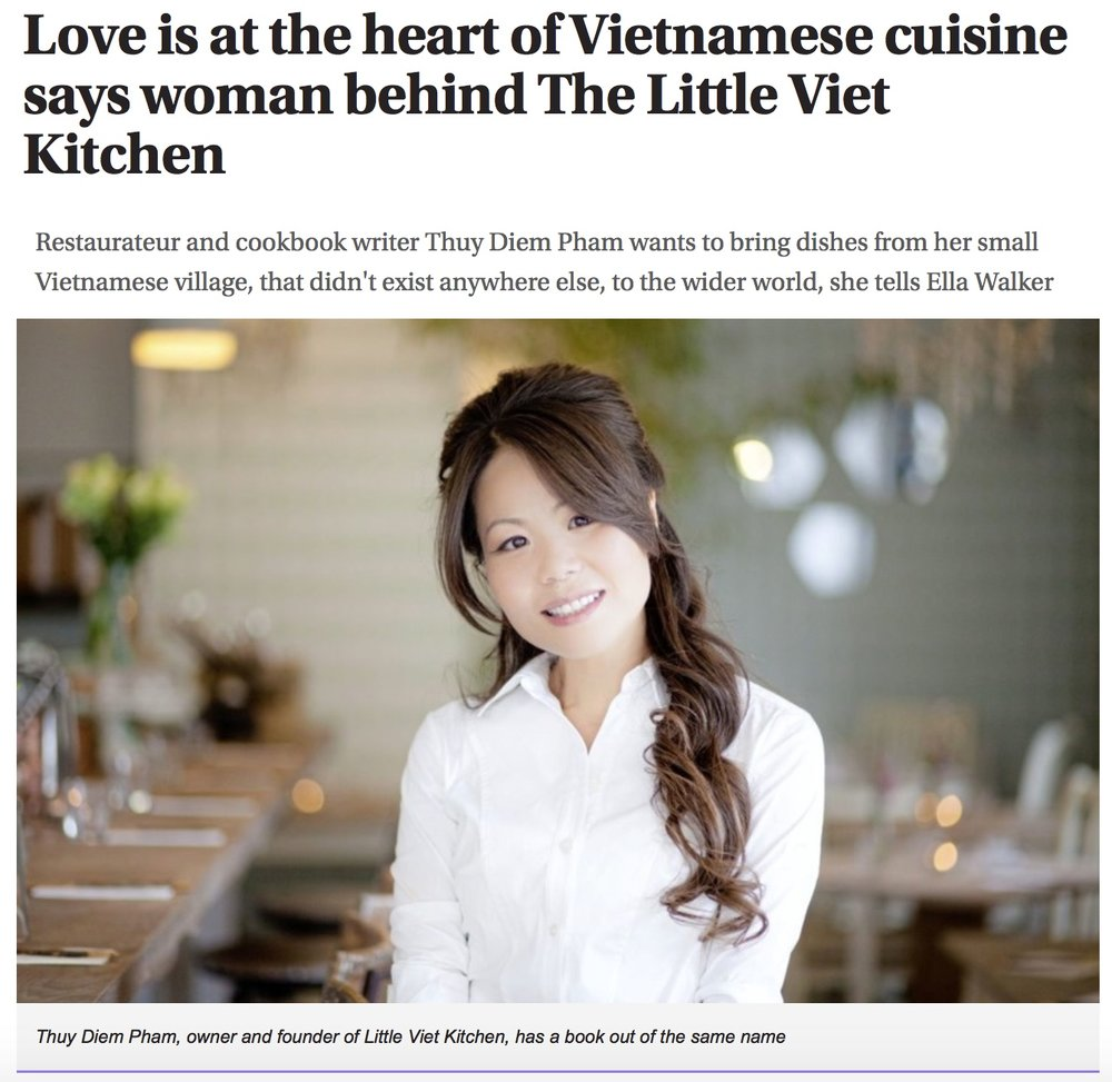 Irish News interview Thuy and share some of our tasty recipes from the LVK cookbook.  https://www.irishnews.com/lifestyle/2018/05/05/news/love-is-at-the-heart-of-vietnamese-cuisine-says-woman-behind-the-little-viet-kitchen-1319314/
