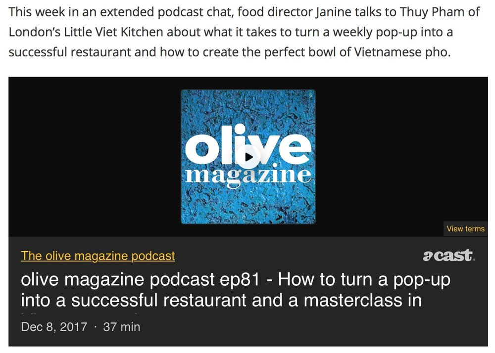 Our first podcast, with Olive Magazine! Thuy speaks in depth about the history of LVK.