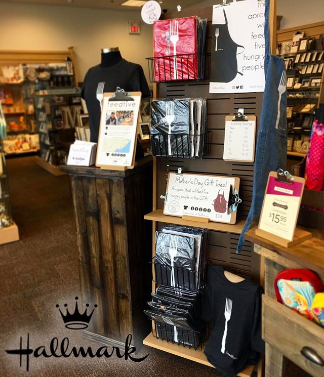 Need a Mother's Day gift? Head on over to any of these Hallmark stores and pick up a feedfive shirt or apron. @HallmarkEatonCentre @HallmarkHeartland Hallmark Square One  Hallmark Eglinton (Scarborough). 👕=🍝🍲🍜🍛🍱 1 item = 5 meals donated
