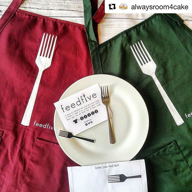 "#Repost @alwaysroom4cake ""Not an ad. Just something cool I wanted to share! I found this organization on Instagram. They are called @feedfive . They sell these super fun aprons and t-shirts. For every item sold 5 meals are provided to people in need at a shelter in Toronto! We love to get involved with organizations that are pouring back into the community.  So I picked up an apron for my hubby for father's day and one for myself, because why not! This purchase helped provide 10 meals to those in need!"" #aprons #fathersdaypresent #feedfive #helpingpeopleinneed #feedingthehungry #giveback #beablessing"