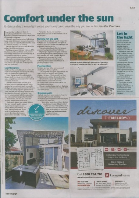 Daily Telegraph 22nd October - Article about solar performance of Award Winning Stanmore House