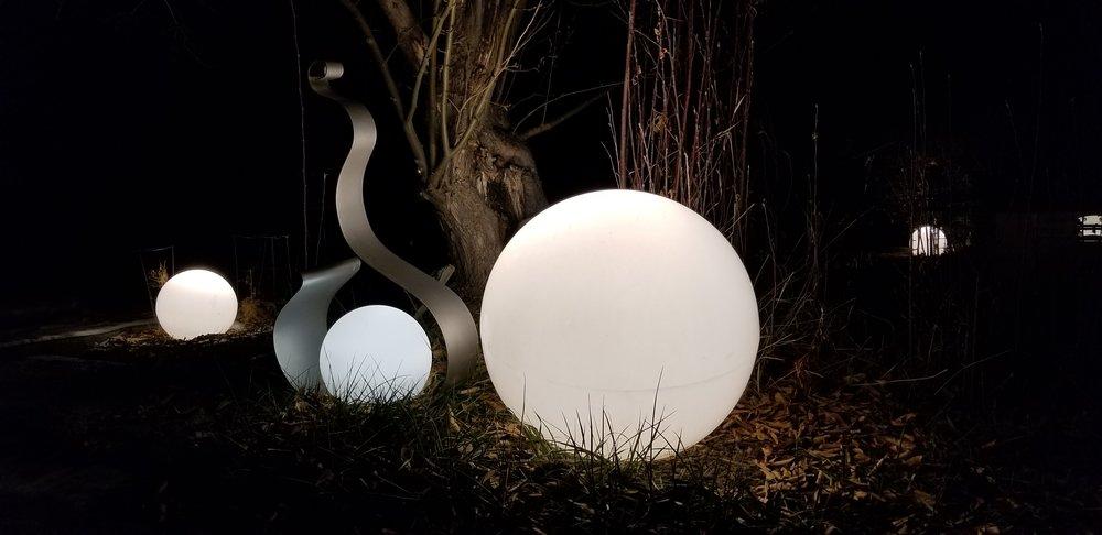Globe landscape lighting.