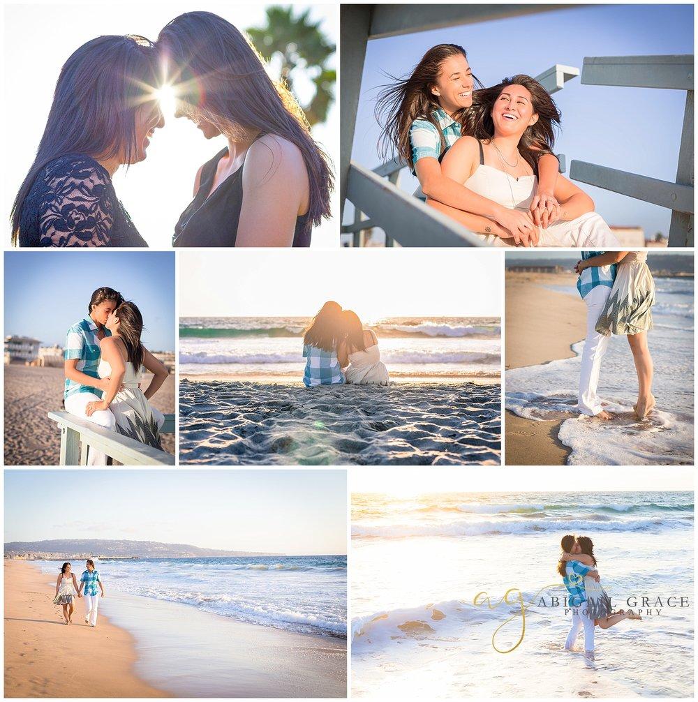 lesbian beach engagement photos