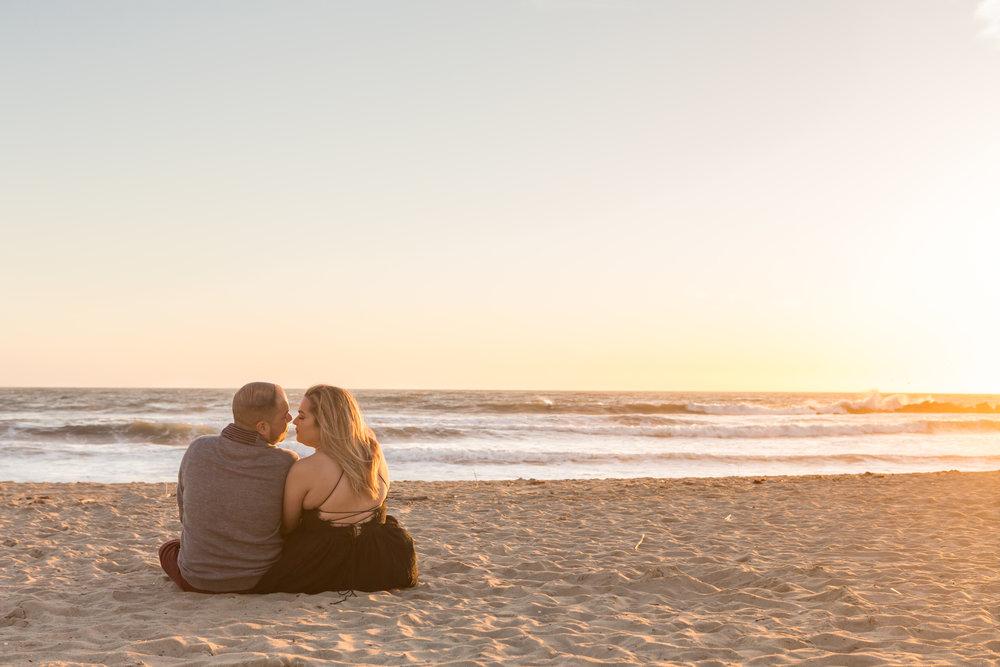 Beach Sunset Engagement Photo