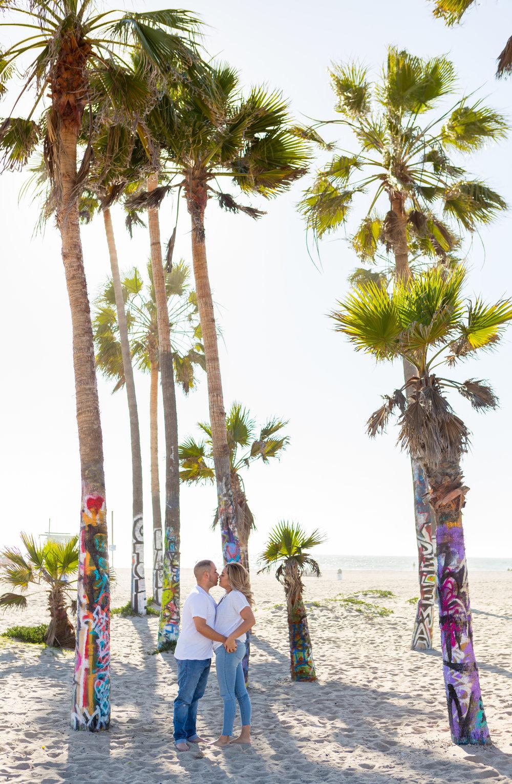 venice beach graffiti palm trees engagement photo