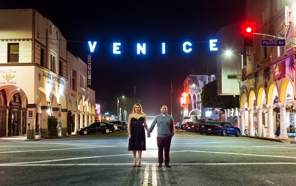 Venice Beach Sign Engagement Photo