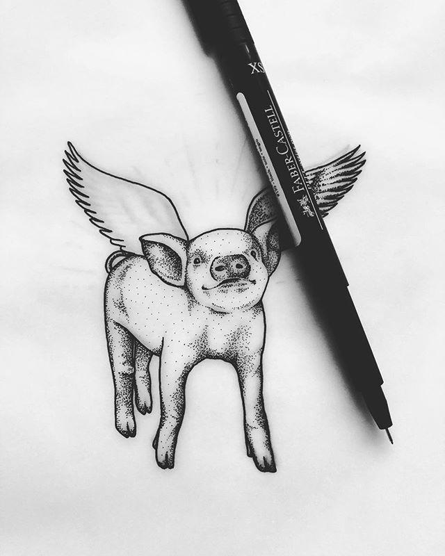 🐷 - A fitting metaphor for the current state of my life. Happy 2019, everyone! - #art #drawing #inkdrawing #artistoninstagram #ATLartist #pointillism #stippling #linedrawing #blackandwhiteart #pen #penandink #dotworkers #dotwork #flyingpig #pigdrawing - © Rafaella Studart, 2019