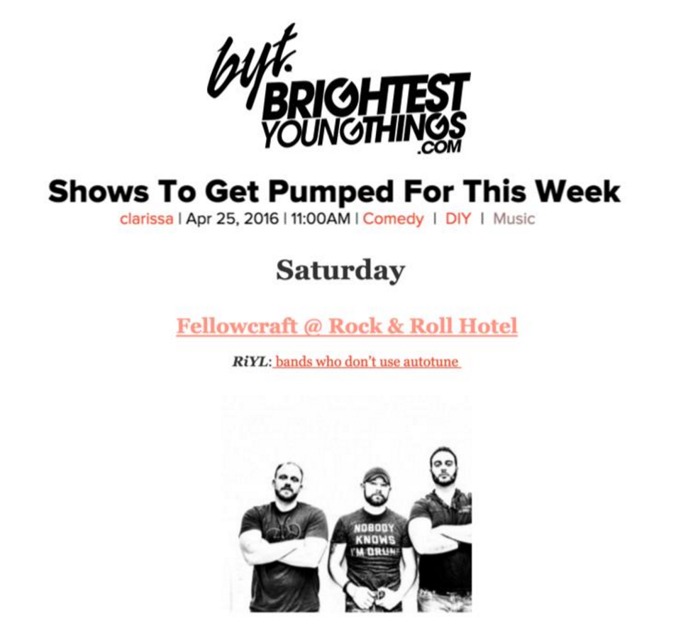Fellowcraft Brightest Young Things Shows to Get Pumped For This Week