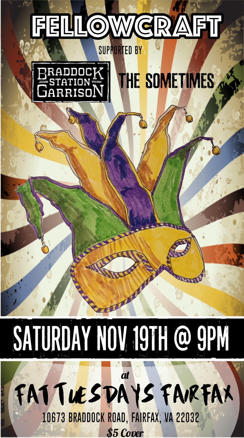Saturday 11/19 is an original rock showcase!  Joined by friends The Sometimes and Braddock Station Garrison.