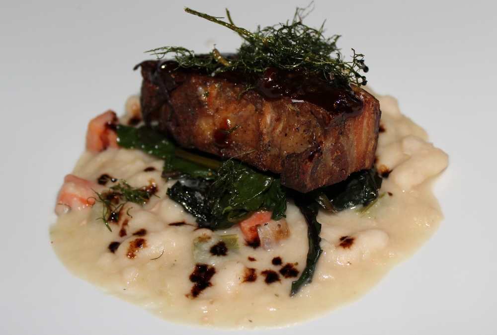 Berkshire Pork Belly, Cannellini White Bean Chowder, Braised Swiss Chard, Apple-Balsamic Syrup