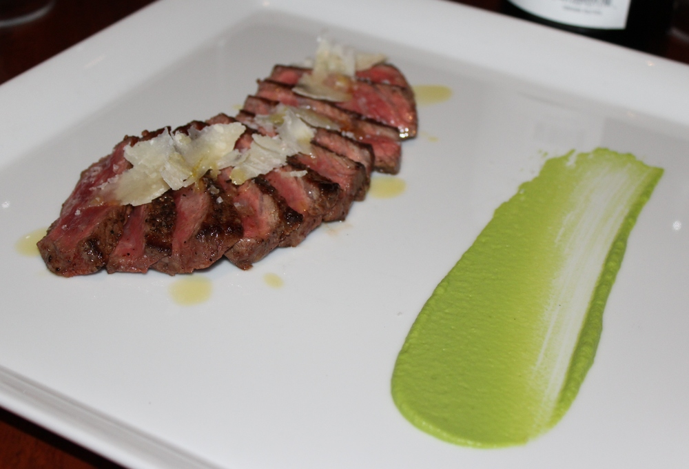 Snake River Farms' wagyu with parmesan and asparagus puree.