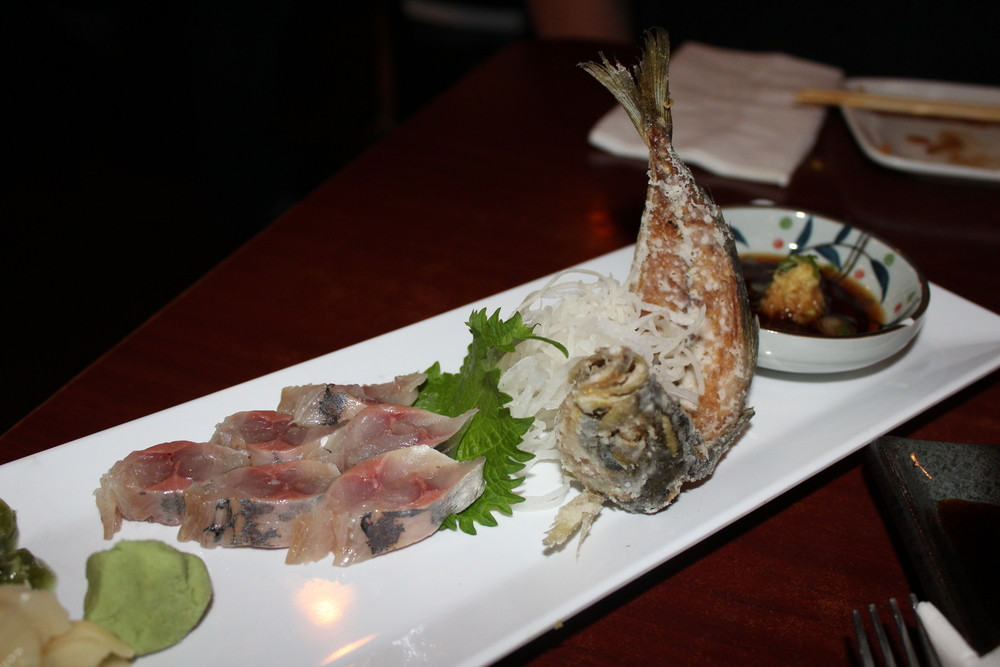 Aji - sashimi and crisp fried bones