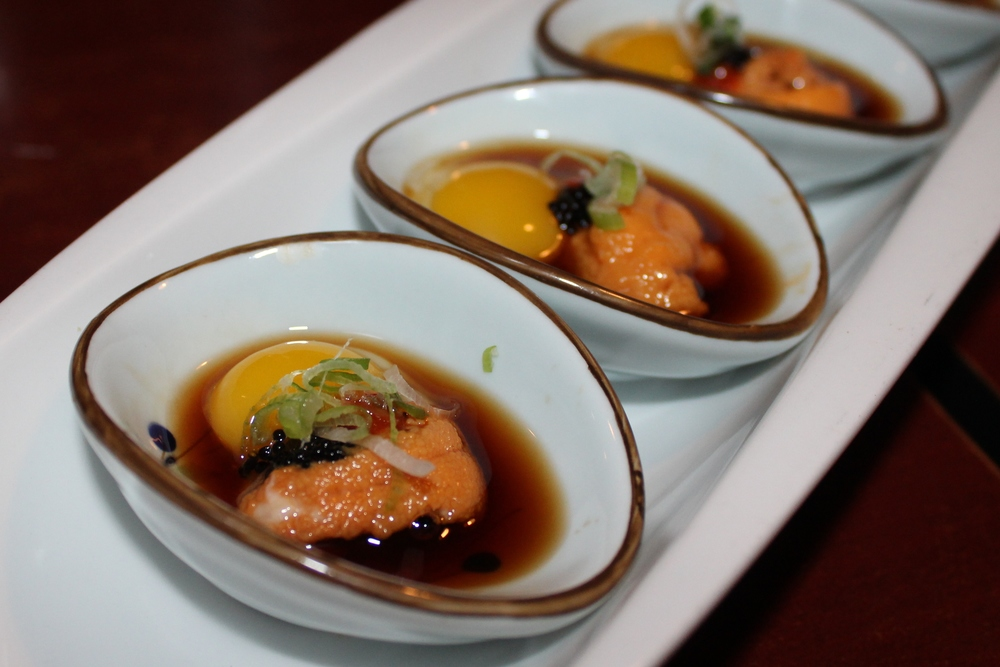 Uni shooter with quail egg and yuzu