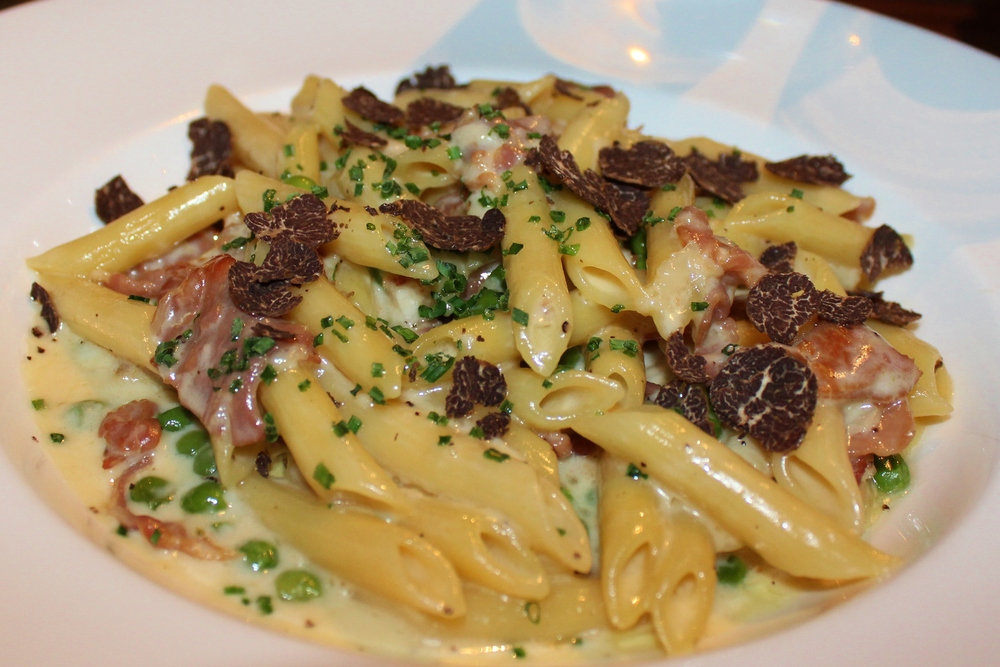 Penne special with truffle and prosciutto.