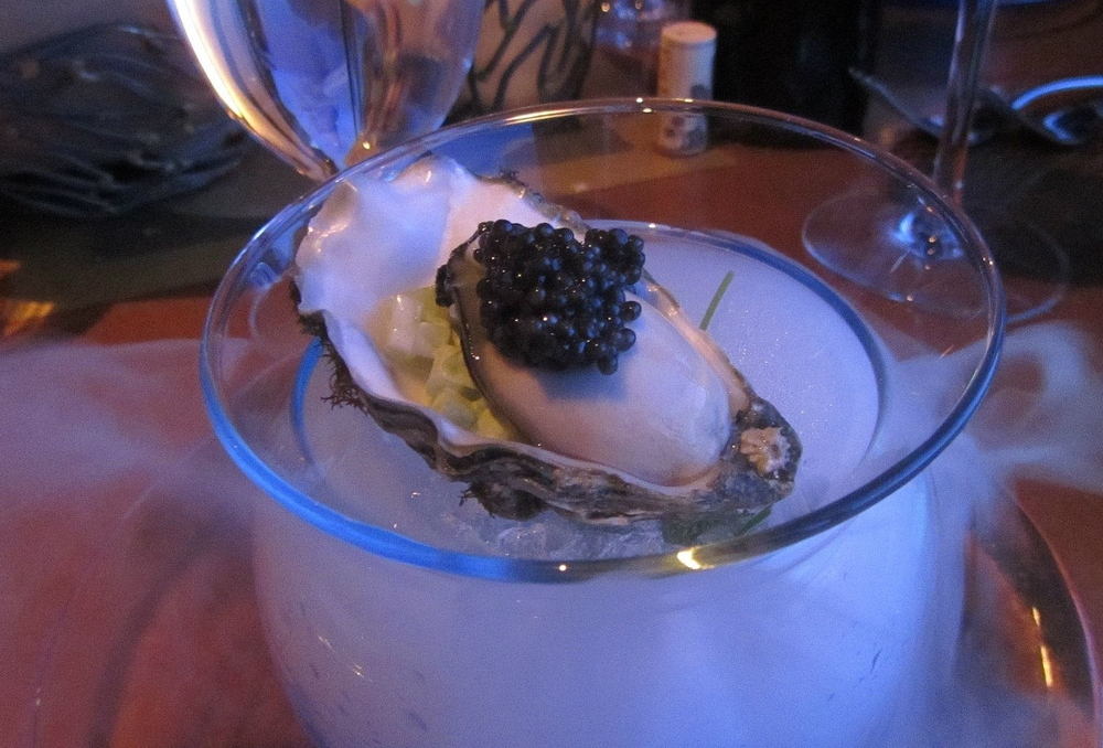 Fanny Bay oysters with caviar, yuzu, and celery relish.