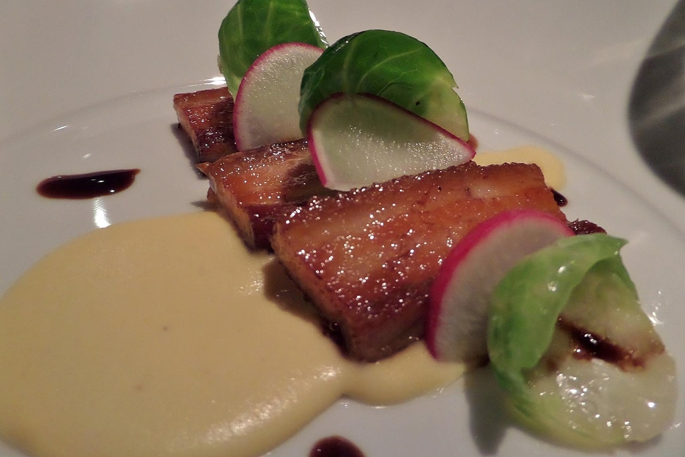 Pork belly with citrus glaze and parsnip puree