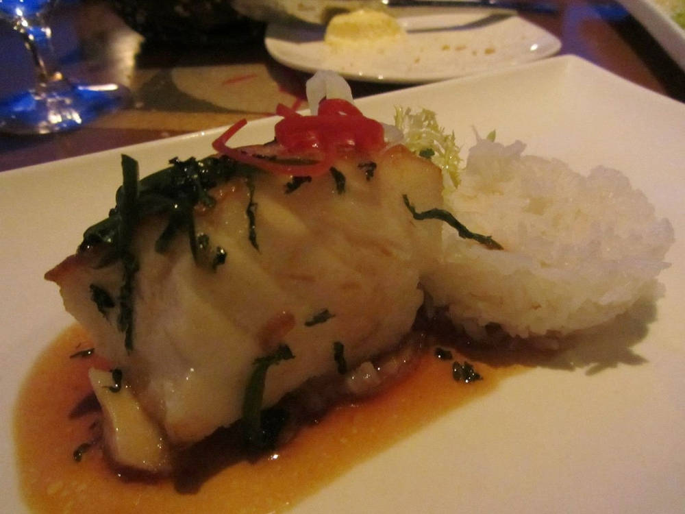 seabass glazed with soy and lemongrass with jasmine rice.