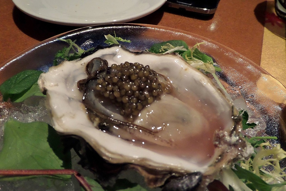 Malaspina oyster with Golden Ossetra caviar and red wine mignonette.