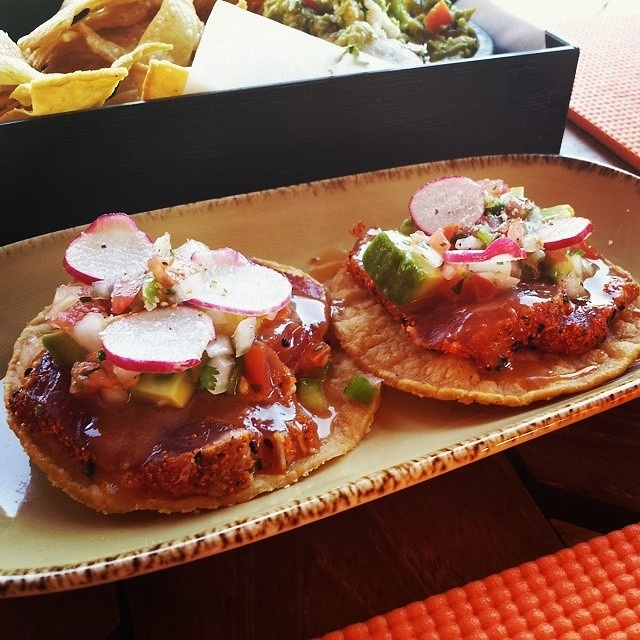 Tuna tostadas poolside at Saguaro Blossom