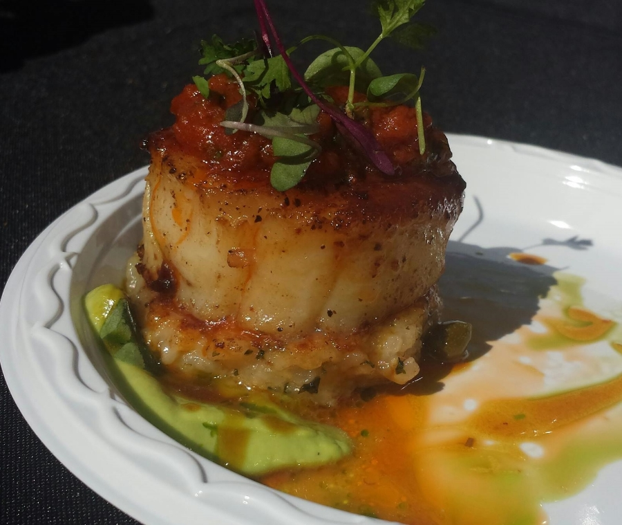 Different Pointe of View's scallop, Parmesan risotto cake, tomato puree and saffron-caper reduction