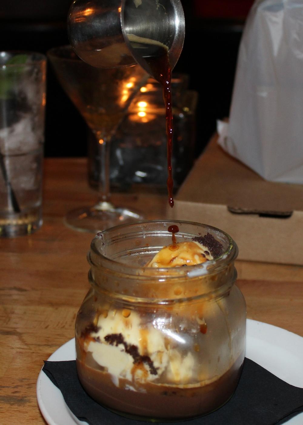 Affogato with chocolate budino, lemon ice cream, chocolate crumble, and espresso
