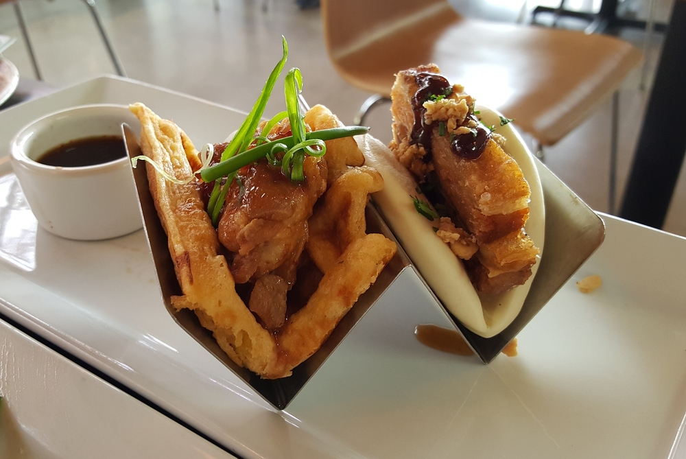 Chicken and Waffles and Pork Belly Bun