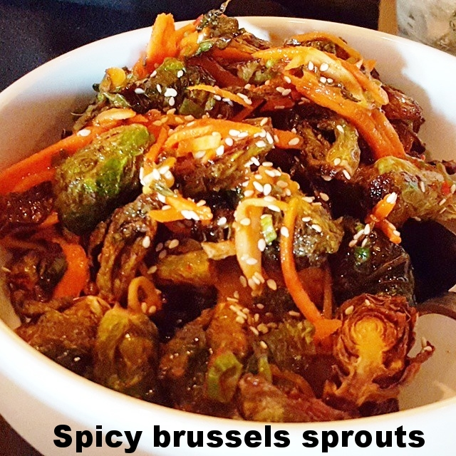 Fried Brussels sprouts with kimchee vinaigrette
