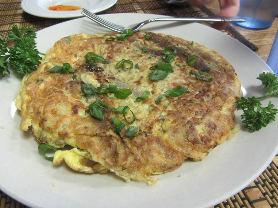 Tagong - omelette with eggplant and ground pork