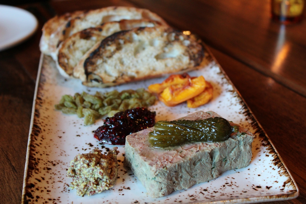 Chicken liver & bacon country pâté with dried fruit, housemade jam, mustard, cornichons, and grilled bread