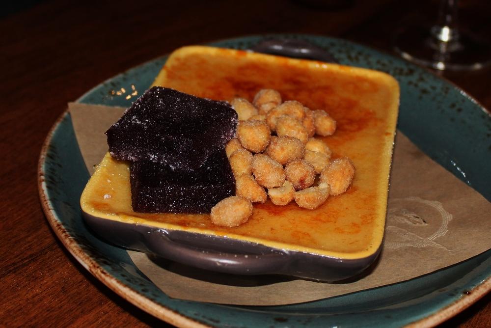 Peanut butter & jelly crème brûlée with mixed berry pâté de fruit & honey-roasted peanuts