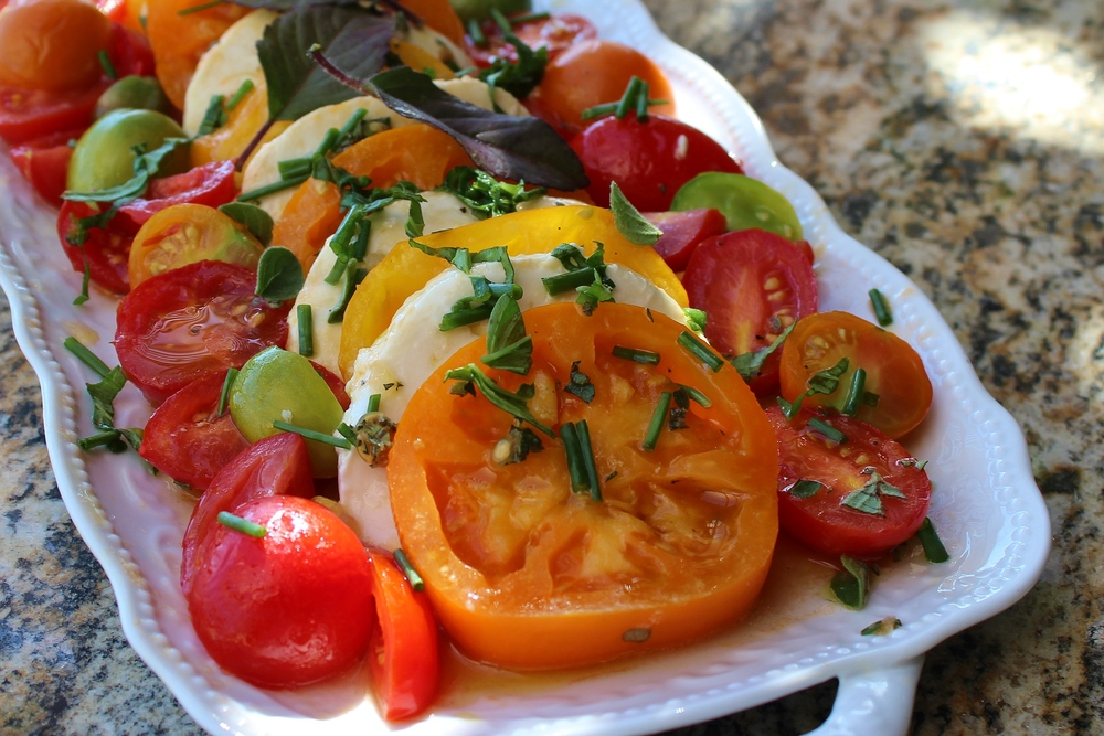 Garden heirloom tomato salad with fior di latte